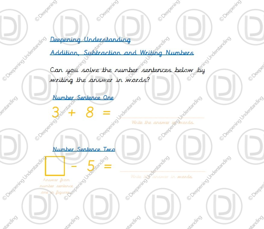 Year 1 Addition and Subtraction – Writing Numbers