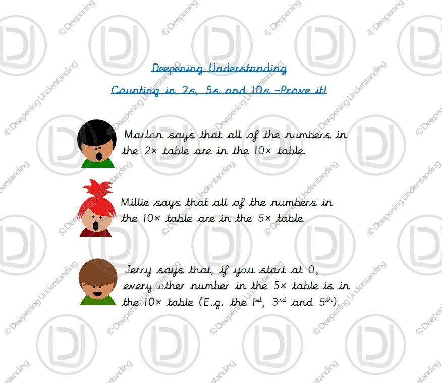 Year 1 Counting – 2s, 5s and 10s Prove it!