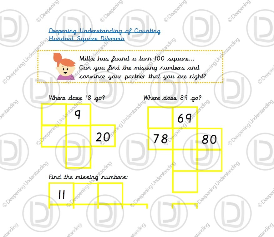 Year 1 Counting – One Hundred Square Dilemma
