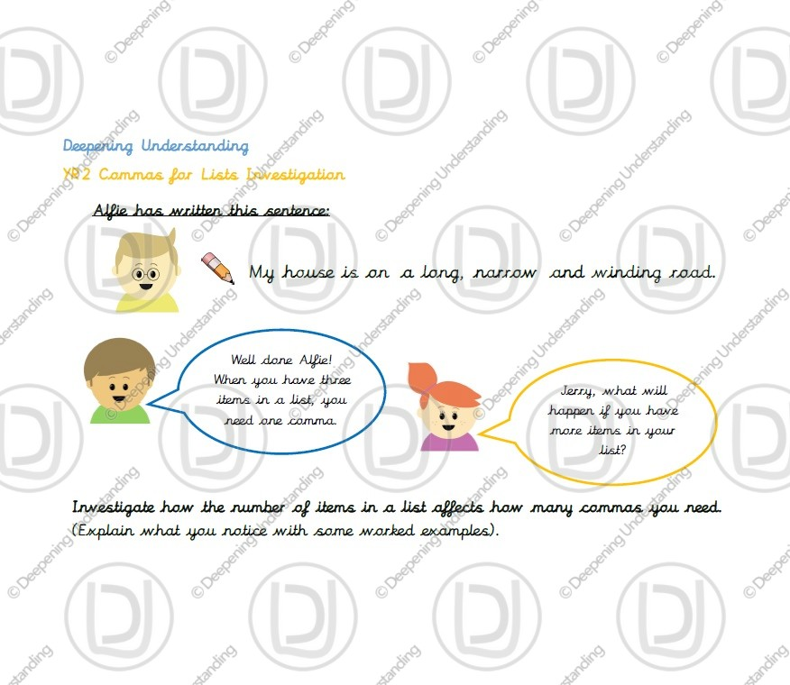 Year 2 – Commas in a List Investigation