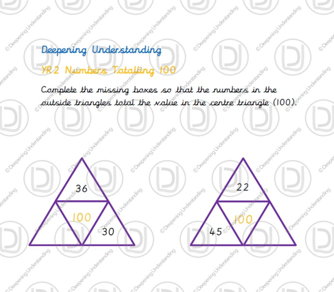 Year 2 – Numbers Totalling 100