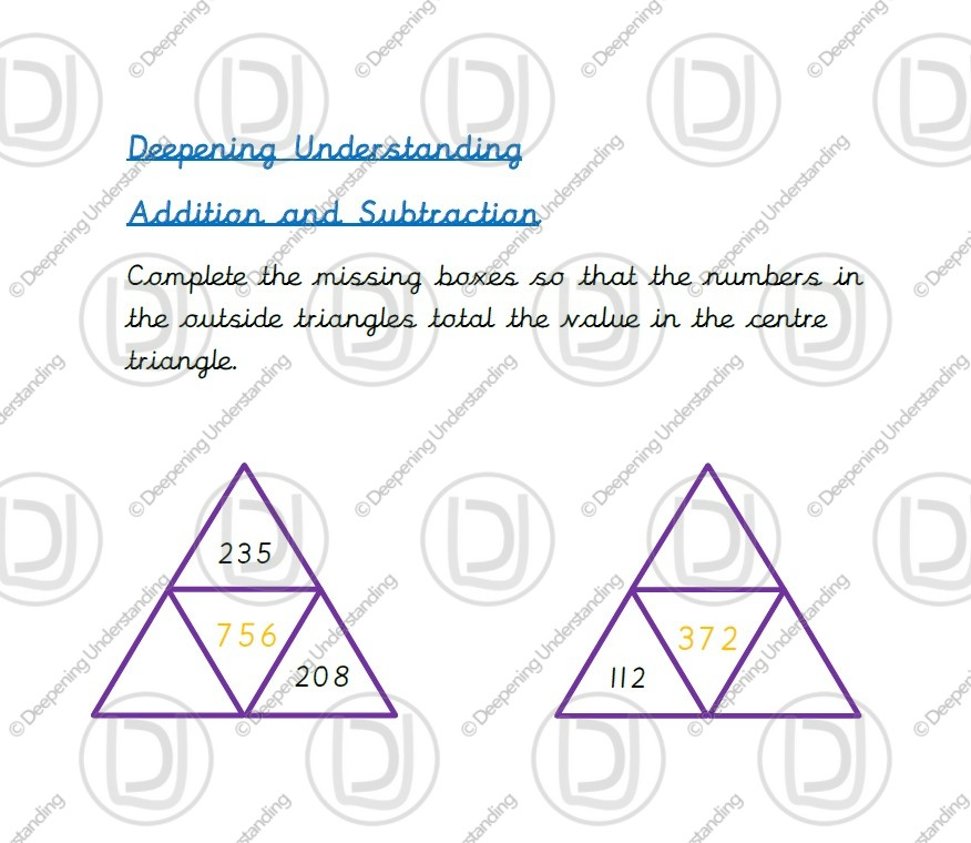 Year 3 – Addition and Subtraction Pyramids