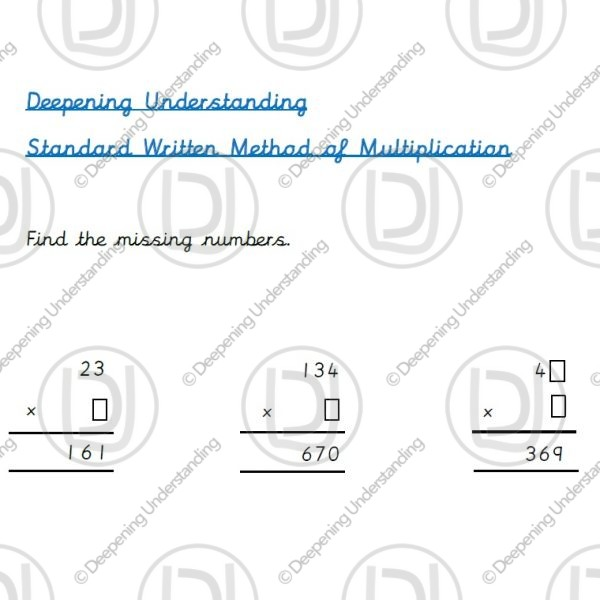 Year 3 - Standard Written Method for Multiplication Missing Digits