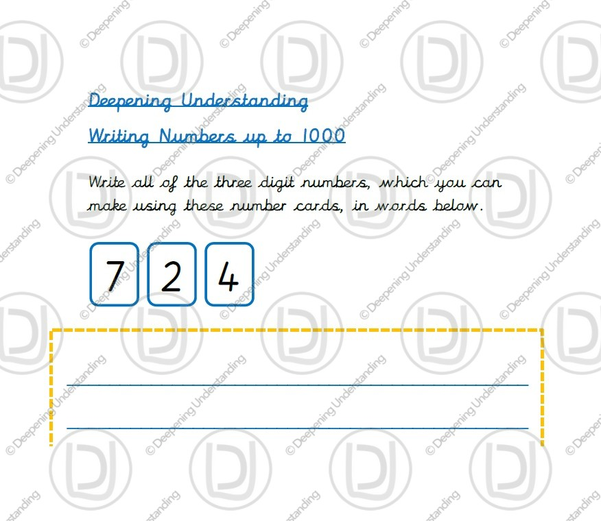Year 3 – Writing Numbers up to 1000