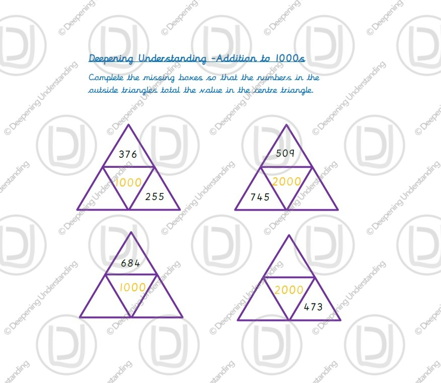 Year 4 – Addition to 1000s Triangles