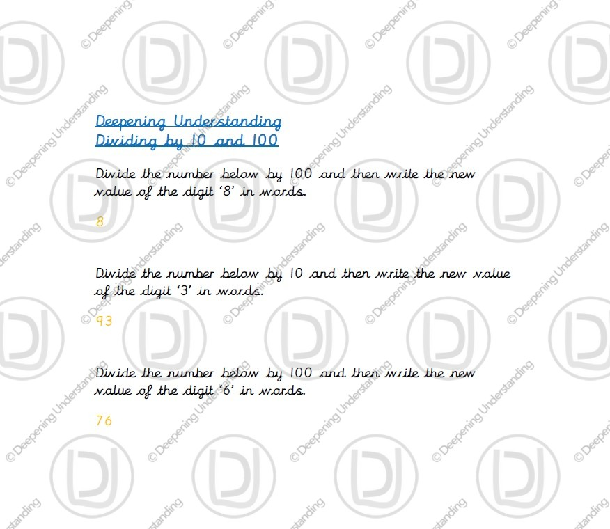 Year 4 – Dividing by 10 and 100