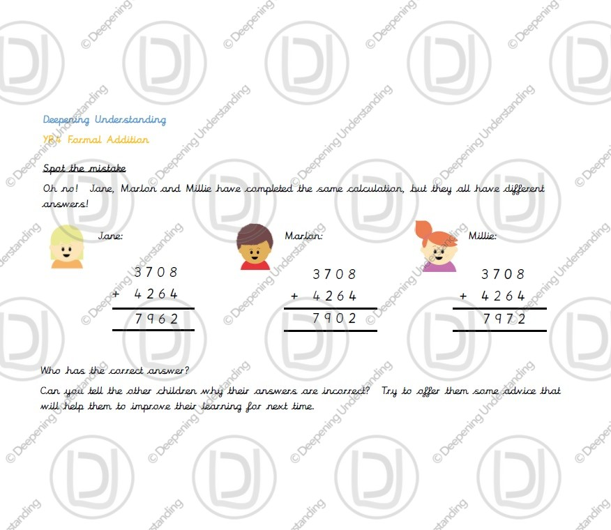 Year 4 Formal Addition – Spot the Mistakes!