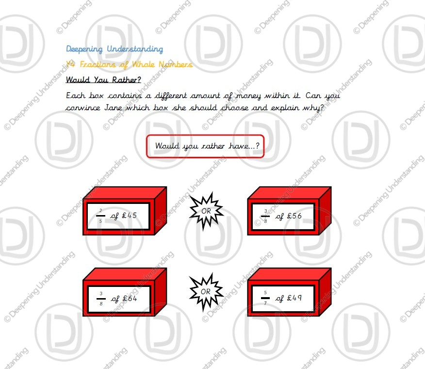 Year 4 – Fractions of Whole Numbers Reasoning
