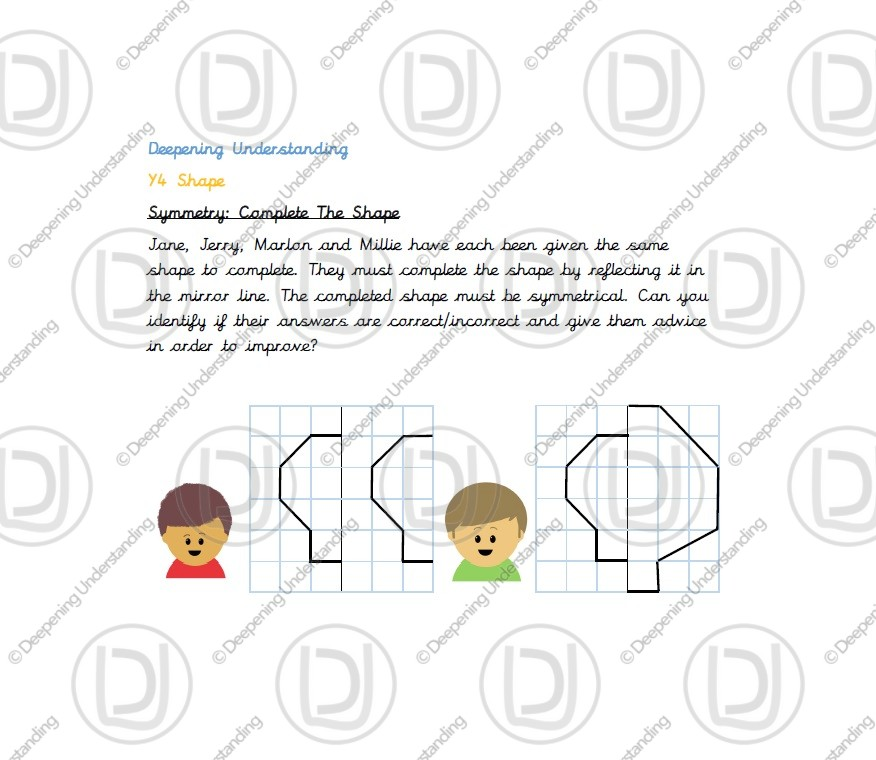 Year 4 Symmetry – Complete the Shape