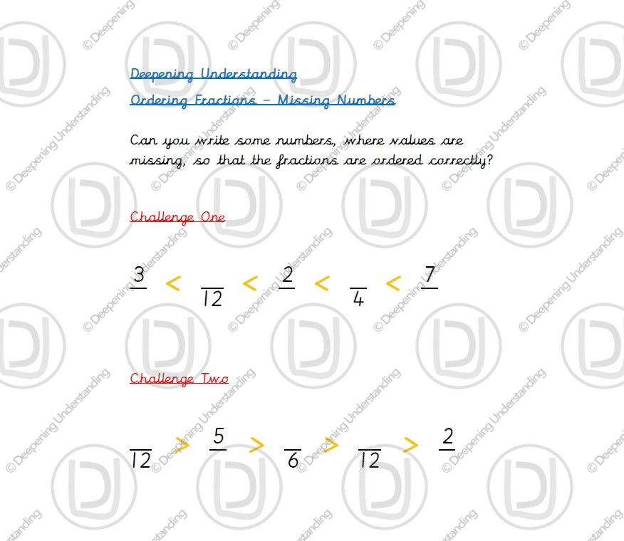 Year 5 Ordering Fractions – Missing Numbers