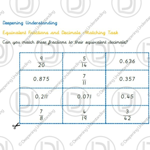 Year 6 - Fraction and Decimal Equivalent - Matching Task