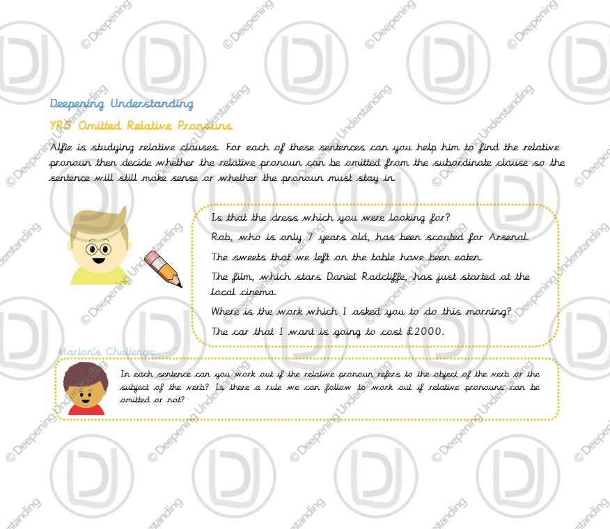 Year 5 – Omitted Relative Pronouns