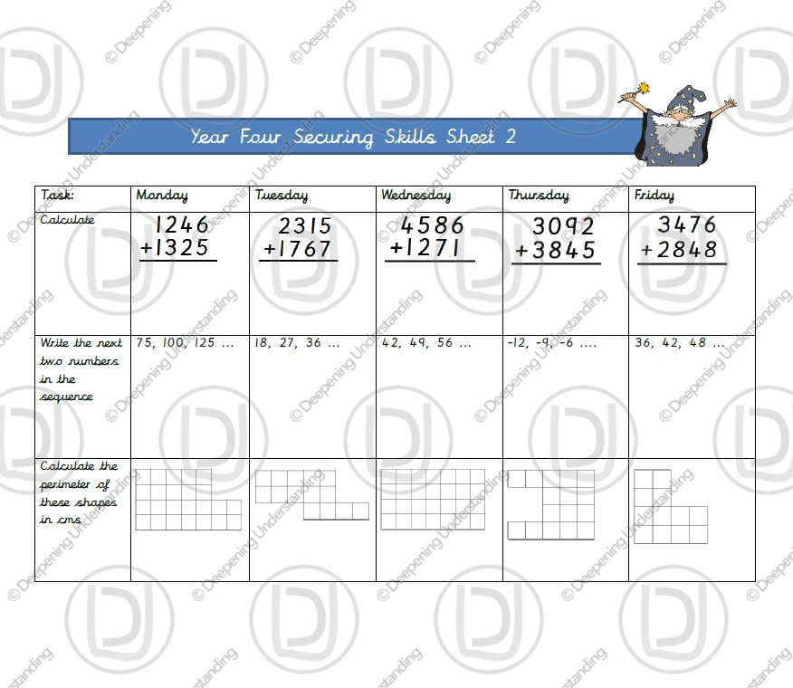 Year 4 Maths – Securing Skills Test 2