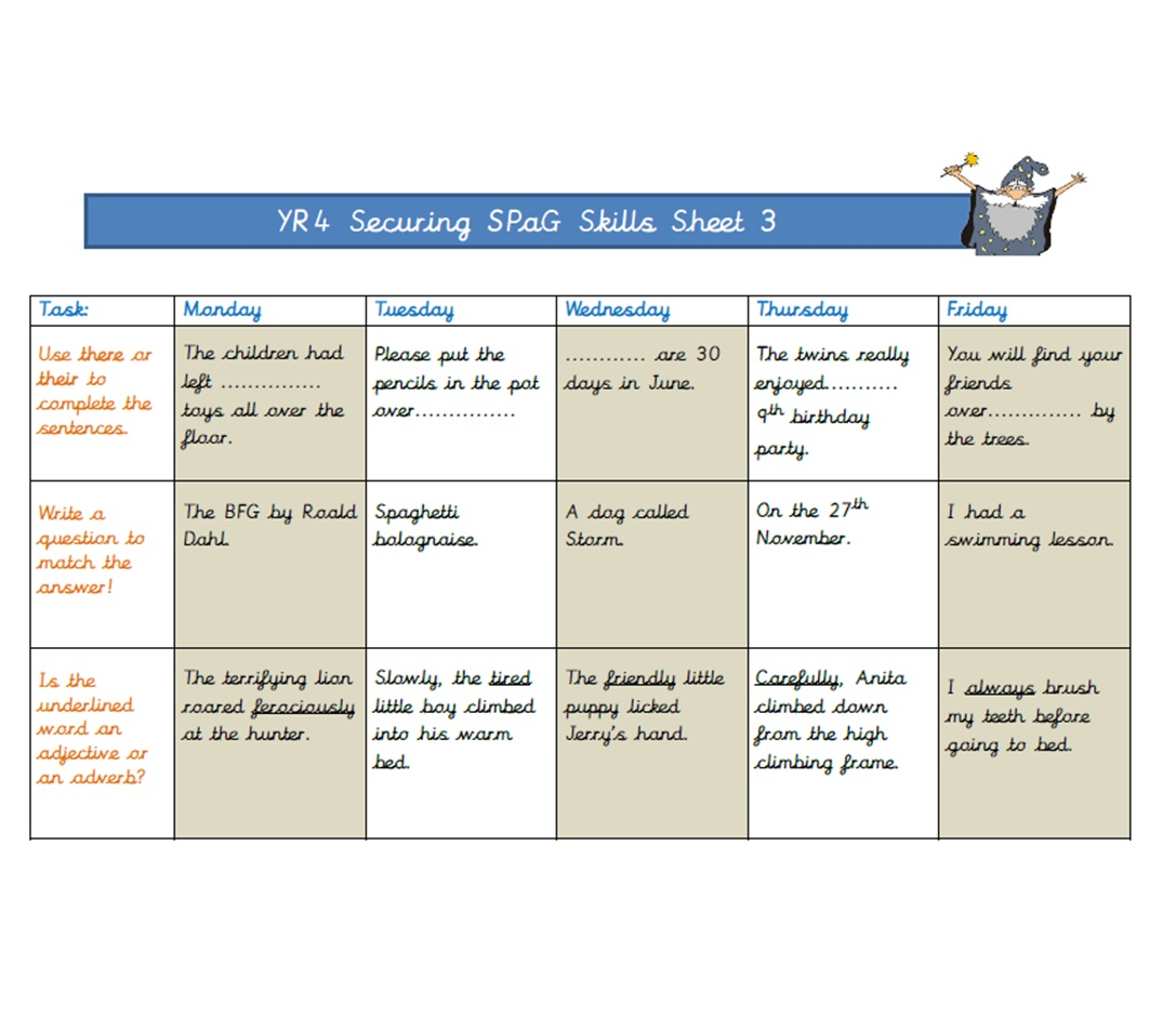 Year 4 Securing SPaG Skills Sheet 3