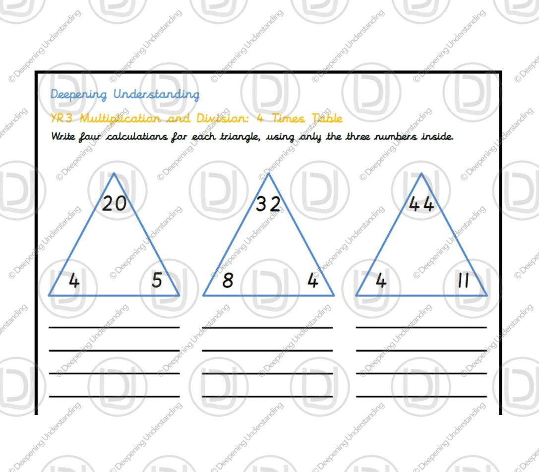 YR 3 – 4 Times Table Depth Task
