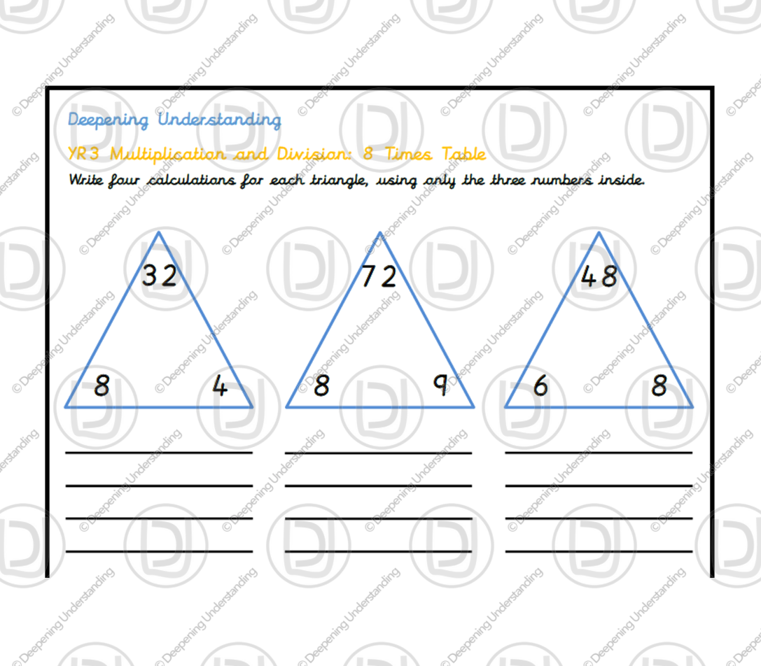 YR 3 – 8 Times Table Depth Task