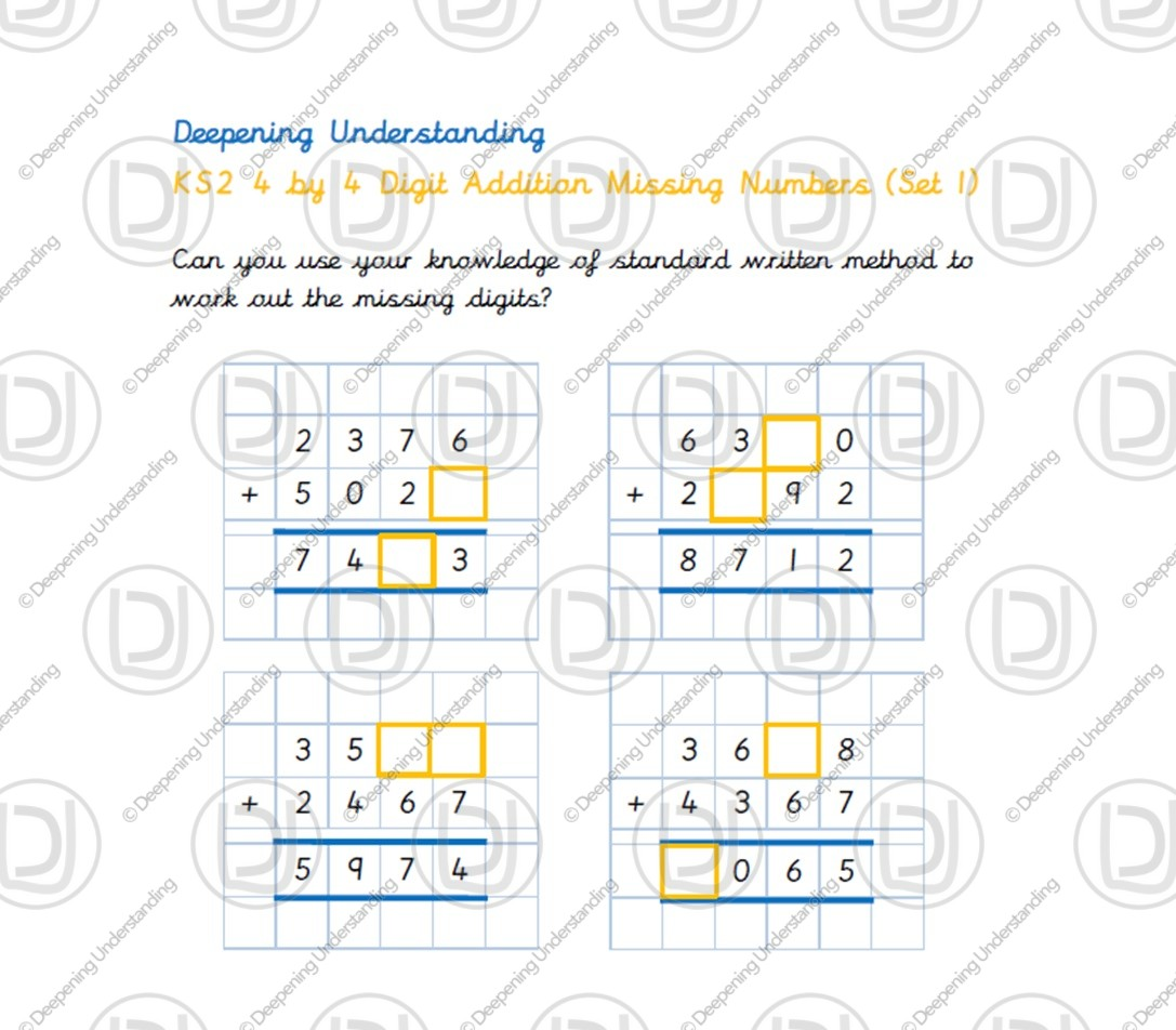 KS2 4 by 4 Digit Addition Missing Numbers
