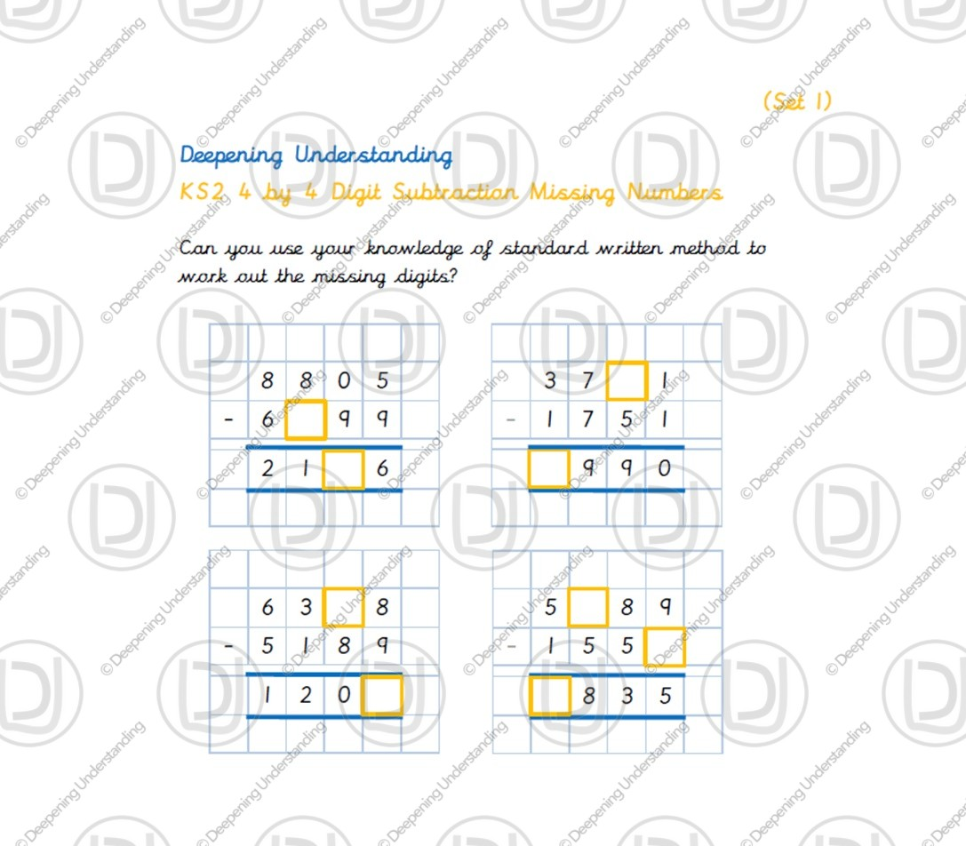 KS2 4 by 4 Digit Subtraction Missing Numbers