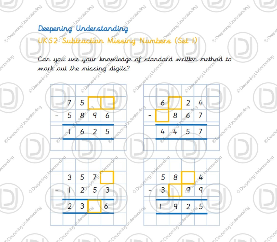 UKS2 Subtraction Missing Numbers