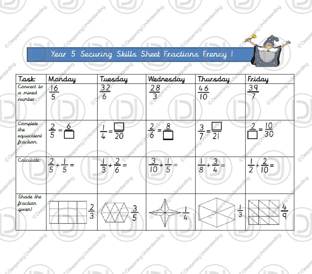 YR5 Securing Skills – Fractions Frenzy 1