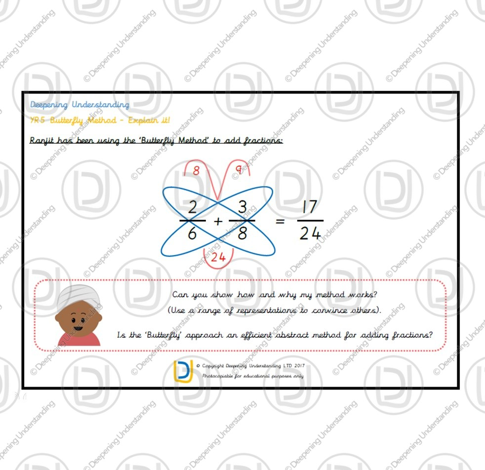 YR5 Fractions Butterfly Method – Explain it!