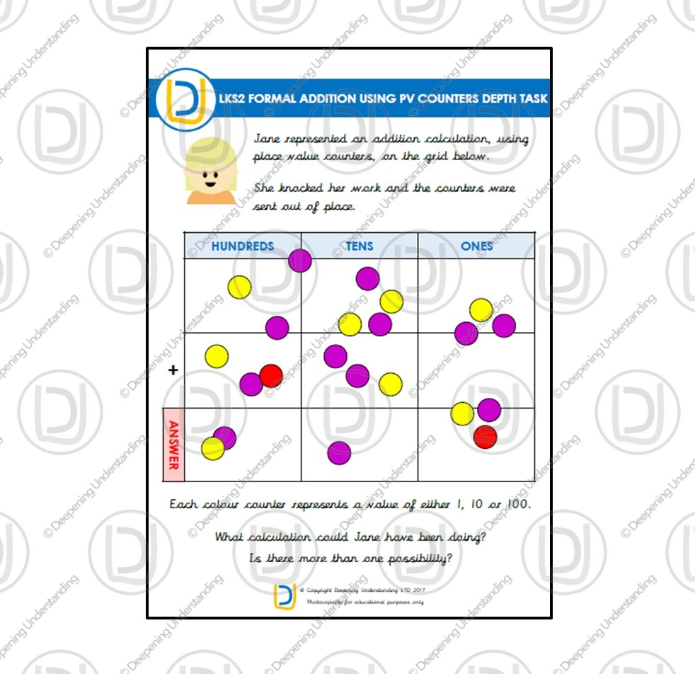 LKS2 Formal Addition with Place Value Counters Depth Task